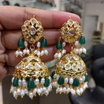 Beautiful Jhumkas/Earrings with Uncut Diamonds & Pearls (1gm Gold) - Traditional and Temple Indian Jewelry-Valentine's Day Gift