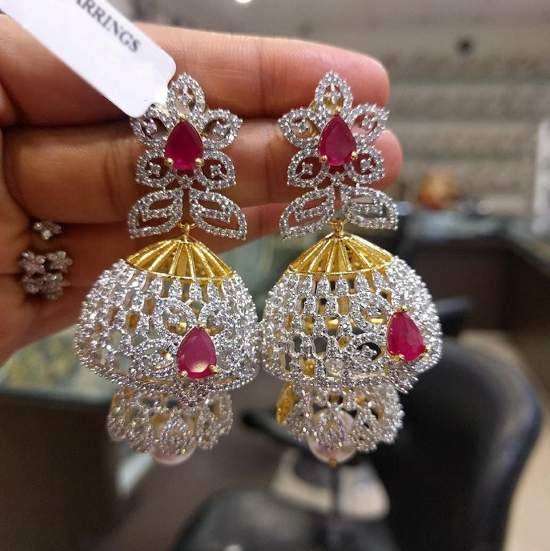 Jhumkas  Earrings in American Diamonds Ruby's & Pearls image 0