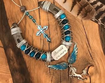 Horse Memorial Keepsake, Personalized Horseshoe, Decorated Horseshoe, Horse Lover Gift, Pet Memorial,  Sympathy Gift