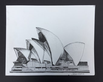 Stippling Ink Drawing of the Sydney Opera House