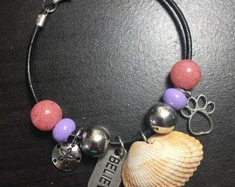 Pink and purple beaded seashell bracelet