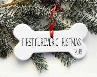 Custom Dog Ornament, Porcelain Dog Bone, Personalized Christmas Ornament