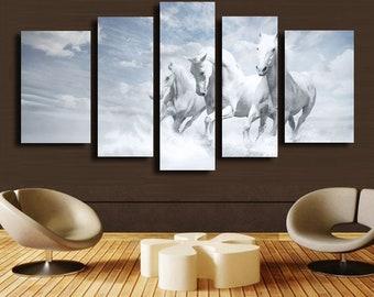 Modern paintings 5 pcs Print On Canvas Home Decor white horse