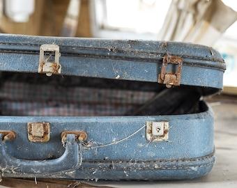 Old Blue Suitcase - Road Trip - Retro Vintage Abandoned Photography - Digital Fine Art Print - Urbex Urban Exploration - Wall Art Gift 8x12