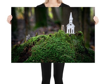 Macro Fairy House Printed on Stretched Canvas or Poster Print, Wall Art Home Decor