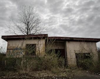 Abandoned Building Under a Grey Stormy Clouds - Landscape - Digital Photography Fine Art Print - Urbex Urban Exploration - Wall Art 8x12