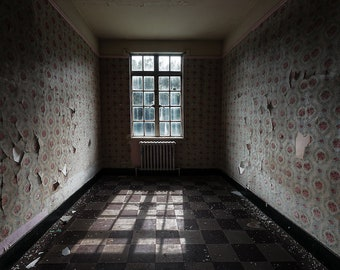 Decaying Room Window - Dark Abandoned Hospital - Digital Photography Fine Art Print - Urbex Urban Exploration - Wall Art Gift 8x11.5