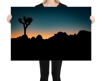 Joshua Tree Sunset Printed onStretched Canvas or Poster Print, Wall Art Home Decor