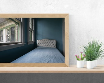Office Art - Abandoned Photography Print Fine Art Wall Art Gift - Blue Bed Still Life - Bedroom Decor - Abandoned Urbex Urban Exploration
