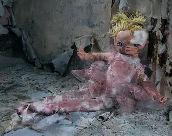 Pink Ripped Ballerina Doll Still Life - Digital Photography Fine Art Print - Urbex Urban Exploration Abandoned - Wall Art Gift for her 8x12
