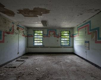 Decaying Room - Creepy Abandoned Hospital - Stripes - Digital Photography Fine Art Print - Urbex Urban Exploration - Wall Art Gift 8x12