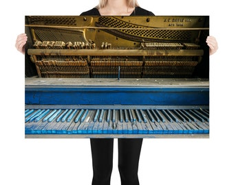 Blue Piano Printed on Stretched Canvas or Poster Print, Wall Art Home Decor