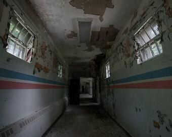Decaying Hallway - Creepy Abandoned Hospital - Stripes - Digital Photography Fine Art Print - Urbex Urban Exploration - Wall Art Gift 8x12