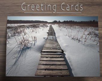 """Boardwalk Blank Inside All Occasion Photo Greeting Card Stationary with Envelope 4""""x6"""" or 5""""x7.5"""", Winter Nature Landscape Holiday Card"""