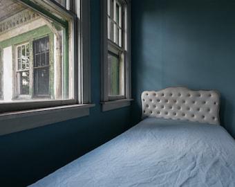 Blue Bed Still Life - Bedroom Decor - Digital Photography Fine Art Print - Abandoned Urbex Urban Exploration - Wall Art Gift 8x12