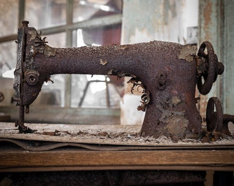 Rusty Old Sewing Machine Needlecraft - Vintage Abandoned Photography Urbex Urban Exploration - Fine Art Print Wall Art - Gift for her 8 x 12