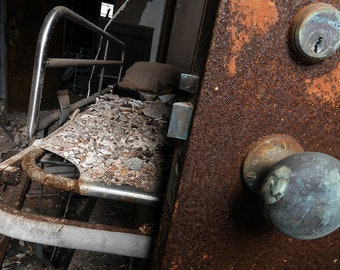 Rusty Door and Hospital Bed Still Life - Abandoned Hospital - Digital Photography Fine Art Print - Urbex Urban Exploration - Wall Art - 8x12