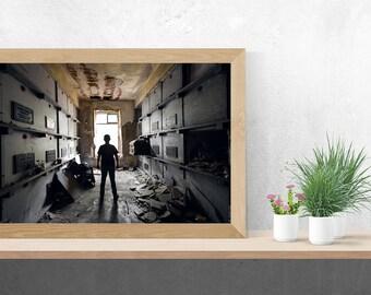Silhouette Portrait in Mausoleum - Death Coffin Casket - Digital Photography Fine Art Print - Urbex Urban Exploration - Wall Art - 8x12