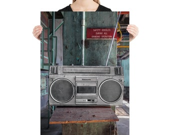 Ghetto Blaster Music Boom Box Abandoned Building Urbex Photography, 1980's Printed on Stretched Canvas or Poster Print, Gift for Musician