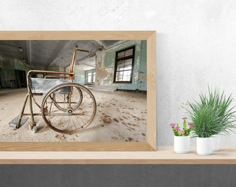 Rusty Wheelchair in Abandoned Hospital Still Life - Digital Photography Fine Art Print - Urbex Urban Exploration Abandoned - Wall Art - 8x12
