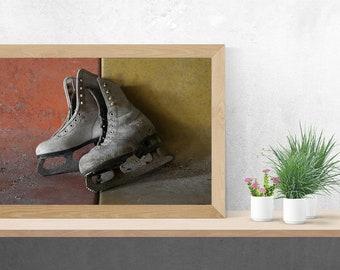 Rusty White Ice Skates Still Life - Winter Figure Skating - Urbex Urban Exploration - Digital Photography Fine Art Print Wall Art Gift 7x12