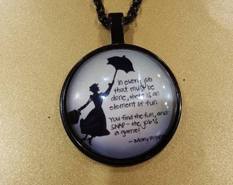 Disney Mary Poppins inspired quote silhouette cabochon pendant necklace