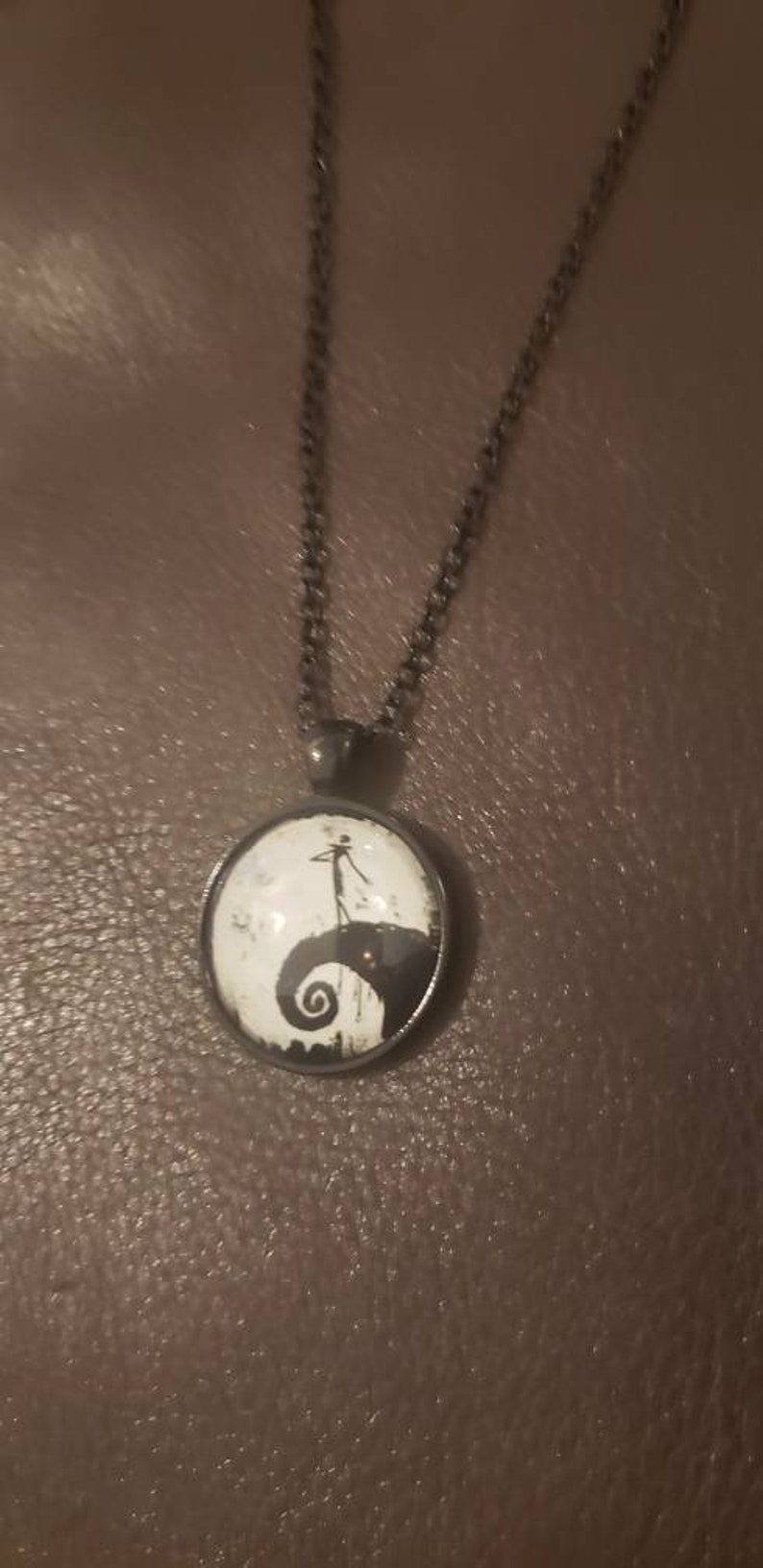 Jack Skeleton Nightmare Before Christmas inspired Glow in the Dark Glass Cabochon Necklace