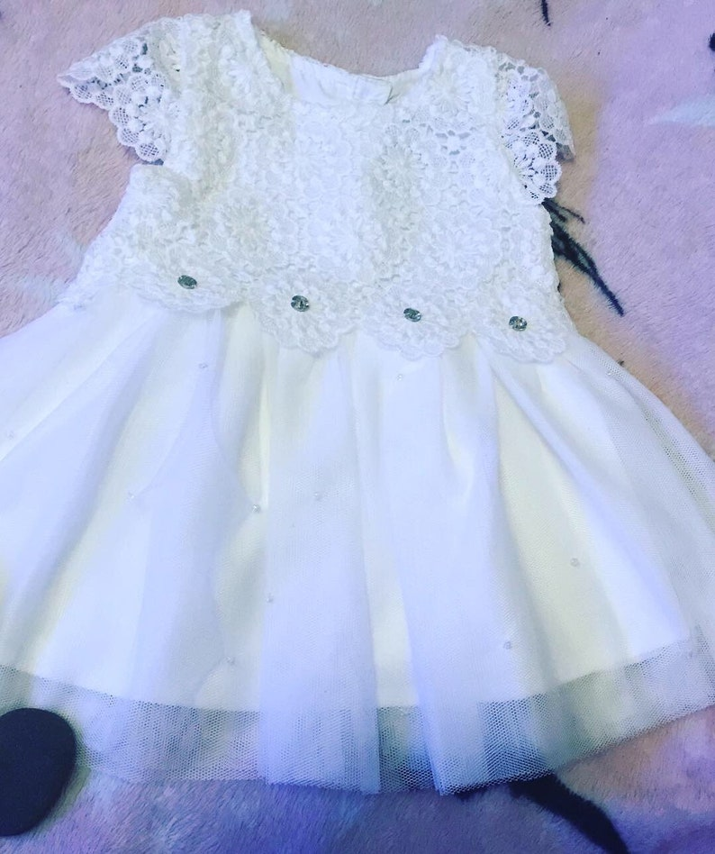 31b531022 Baby Girls White Lace Party Dress lace baby dress baby party   Etsy
