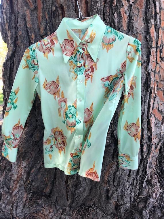70s mint floral button up shirt - image 2