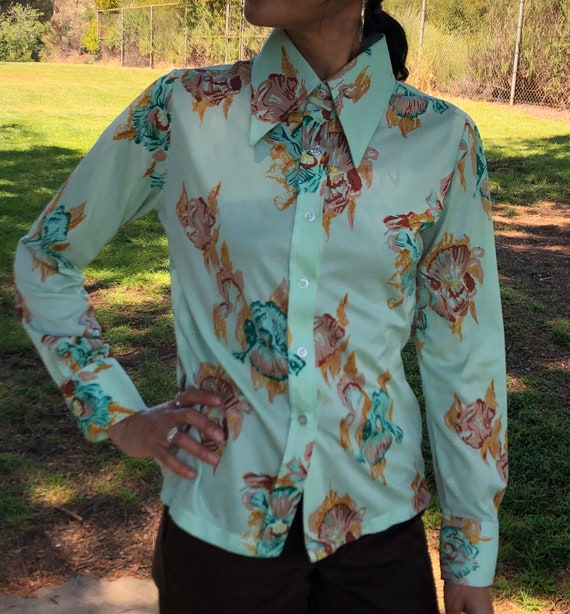 70s mint floral button up shirt