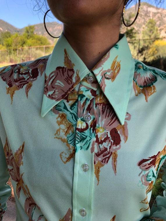 70s mint floral button up shirt - image 3