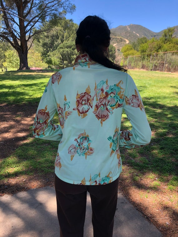 70s mint floral button up shirt - image 5