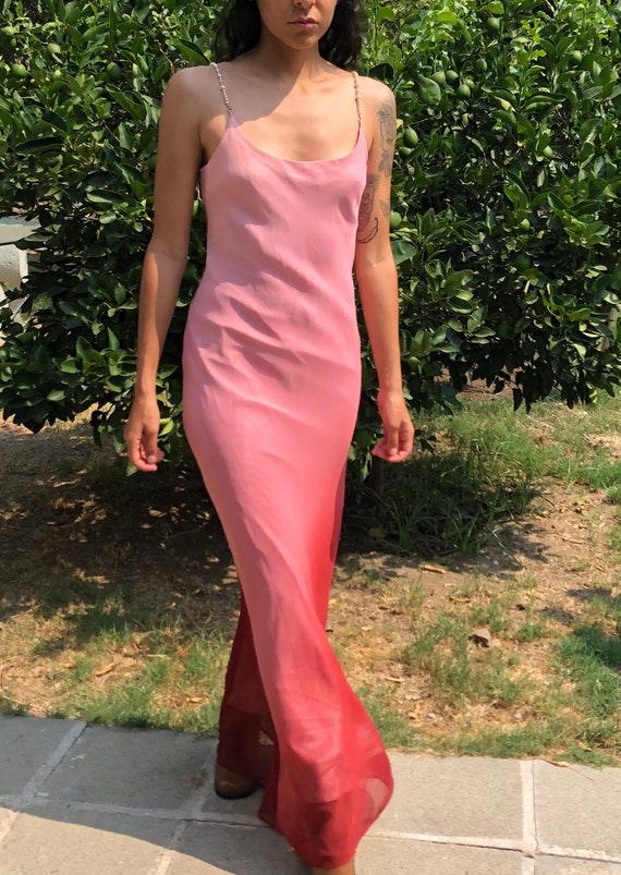 Pink Ombré Beaded Strap Maxi Dress