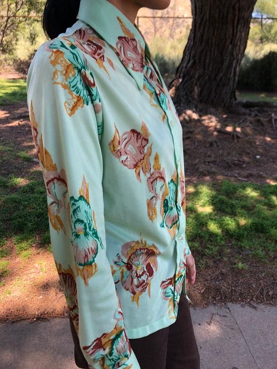 70s mint floral button up shirt - image 9