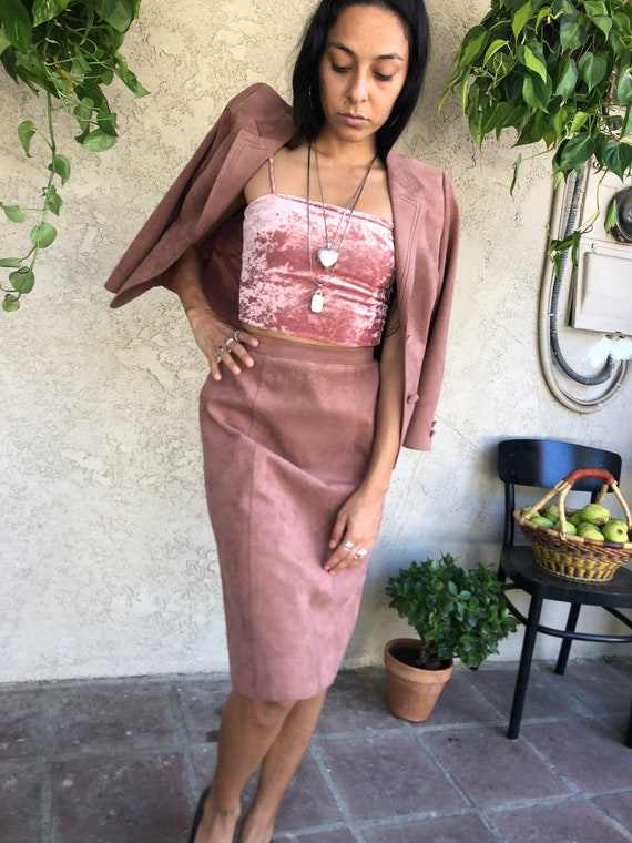 Dusty Pink Suede Skirt Suit