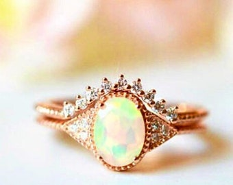 Cassiopeia Opal ring, rose gold color opal ring, opal ring set, opal rings, October birthstone, birthstone jewelry