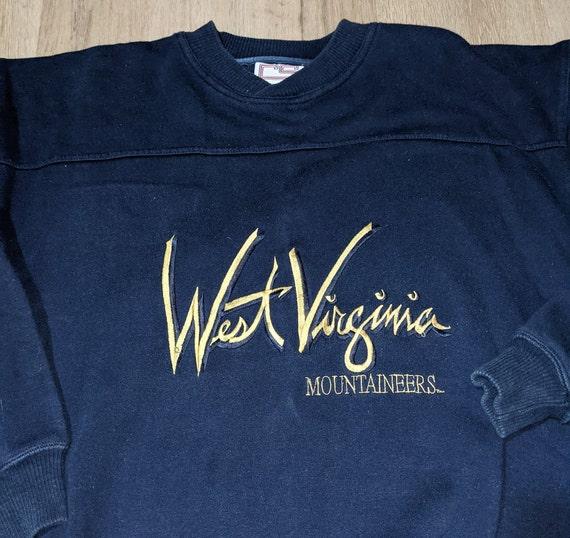 XL 90/'s West Virginia University men/'s sweatshirt vintage crewneck blue gold white 1990/'s Tultex Mountaineers