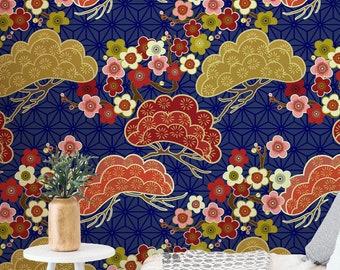 Floral Japan Inspired Removable Wallpaper Self Adhesive Wallpaper K011