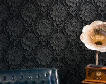 Digital Baroque Removable Wallpaper, Victorian print, Reusable, Peel&Stick, Eco Friendly, renter friendly, Bohemian wallpaper, black mural