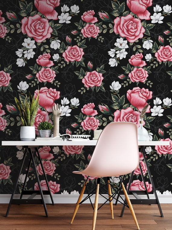 Removable Wallpaper Dark Floral Peel And Stick Wallpaper Etsy