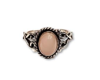 Rose Quartz Ring Adjustable brass
