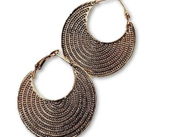 Ethnic Earrings Gold Brass hoop