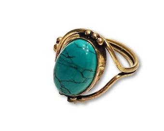 Turquoise Ring Adjustable Brass