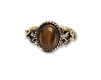 Ethnic Tiger eye Ring adjustable brass