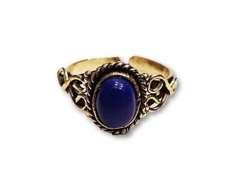 Ethnic Lapislazuli Ring Adjustable brass