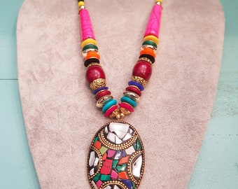 Tibetan Nepal necklace, brass stone, mosaic necklace