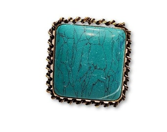 Large Square Turquoise Brass ring