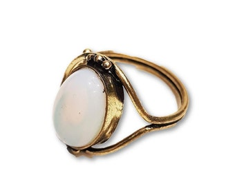 Moon Stone Ring Adjustable Brass