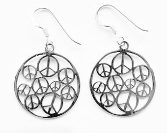 Peace Earrings Sterling Silver 925