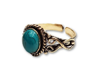 Silver Turquoise Ring Adjustable Brass